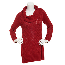 Hannah Women's Solid Color Marilyn Tunic Sweater - Scarlet Red - Size: XL