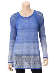 Hannah Women's Ombre Open Knit Sweater - Blue - Size: L