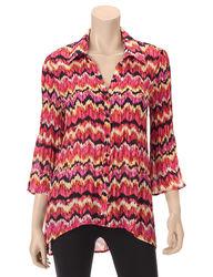 Allison Taylor Women's Petite 3/4 Sleeve Chevron Shirt - Berry - Size: PL