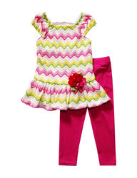 Youngland Girls 2-Pc Chevron Top & Leggings Set - Fuchsia/Lime - Toddler