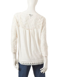 Hannah Women's Lace Embellished Peasant Top - Ivory - Size: Small