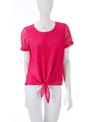 Cathy Daniels Women's Tie Bottom Leopard Lace Top - Fuchsia - Size: XL
