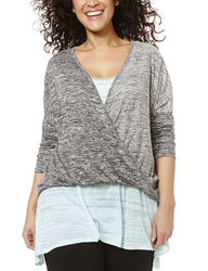 L.A. Threads Women's Marled Knit Envelope Top - Heather Grey - 1X