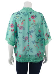 Women's Lace Trim Tranquility Green Kimono Top - Teal/Multi - Juniors Plus