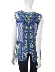 Energe Women's Multicolor Mixed Print Chiffon Overlay Top - White - Sz: XL