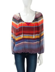 Hannah Women's Multicolor Striped Woven Peasant Top - Orange - Size: L