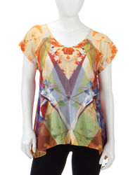 Energe Women's Chiffon Overlay Top - Yellow Floral - Size: Petites