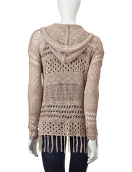 Hannah Women's Solid Color Open Knit Hoodie Sweater - Beige - Size: L