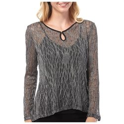 Oneworld Women's Hi Lo Shimmery Sheer Keyhole Neck Top - Silver - Size: XL