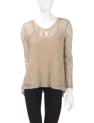 Oneworld Women's Hi Lo Shimmery Sheer Top - Heather Grey/Gold - Size: XL