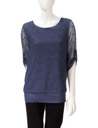 Hannah Women's Solid Color Popcorn Bling Open Knit Top - Red -Size: Medium