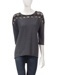 Hannah Women's Crochet Yoke Hi-Lo Sweater - Charcoal/Black - Size: XL