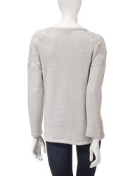 Hannah Women's Crochet Shoulder Accent Sweater - Grey - Size: Large
