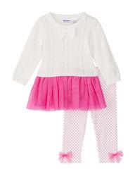 Blueberi Baby Girl 2 Piece Sweater & Leggings Set - Ivory/Pink - 12/24 Mos