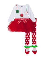 Blueberi Boulevard Baby 2 Piece Ornament Tutu Legging Set - Red - 3-9 M
