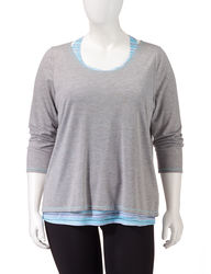 L.A. Threads Women's Layered-Look Active Top - Grey/Blue - 1X