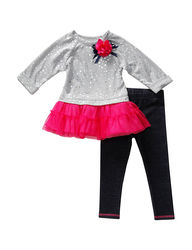 Youngland Girls 2-Pc Tutu Top & Legging Set - Grey/Pink - Size: 24 month