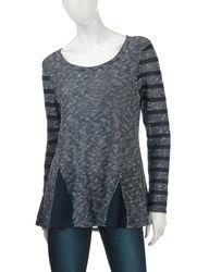 Hannah Women's Space-Dye Striped Sleeve Knit Top - Navy/White - Size: L