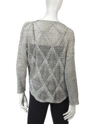 Hannah Women's Marled Diamond Knit Sweater - Ivory/Grey - Size: Large