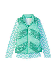 Self Esteem Girl's 2 Pc T-Shirt & Sequins Chevron Vest - Mint - Size: XL
