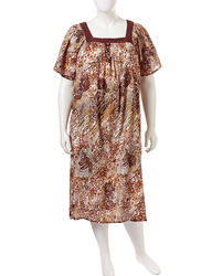Loungees Women's Plus-size Animal Lace Print Gauze House Dress - Brown - M