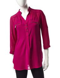 My Michelle Women's Bright Wine Zipper Lace Top - Dark Purple - Large