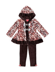 Little Lass Girls 3-Pc Fur Jacket & Leggings Set - Brown - Size: 24 month