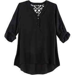 A. Byer Juniors Girls Lattice Back Blouse - Black - Size: Large