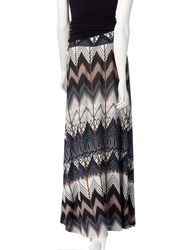 Hannah Women's Tribal Chevron Print Maxi Skirt - Black/Brown - XL