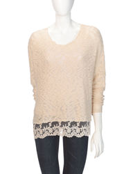 Signature Studio Women's Knit Lace Trim Sweater - Beige - Size: Medium