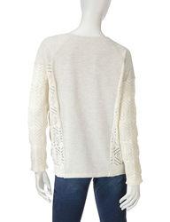 Hannah Women's Egret Open Stitch Sweatshirt - White - Size: Large