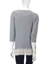Signature Studio Women's Caught Up Lace Accent Sweater - Grey - Size: M
