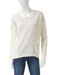 Hannah Women's Egret Open Stitch Sweatshirt - White - Size: XL