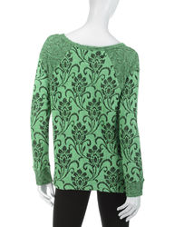 Energe Women's Tonal Textured Floral Knit Sharkbite Top - Green - Size: M