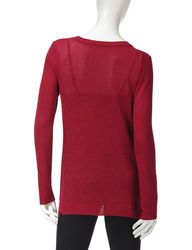 Hannah Women's Shimmering Knit Asymmetrical Sweater - Red - Size: Medium