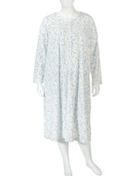 Rebecca Women's Floral Print Micro Fleece Night Gown - White - Plus size