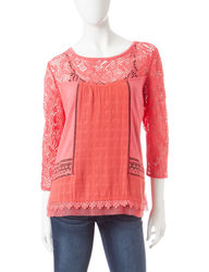 Hannah Women's Lace Embellished Peasant Top - Orange - Size: Medium