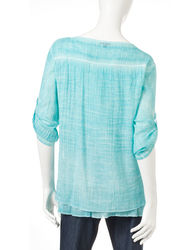 Hannah Women's Ombre Print Lace Panel Top - Aqua - Size: Medium
