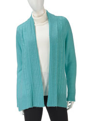 Jason Maxwell Womne's Solid Color Cable Knit Cardigan - Aqua - Size: L