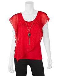 A. Byer Women's Ruffled Overlay Top & Necklace - Red - Large