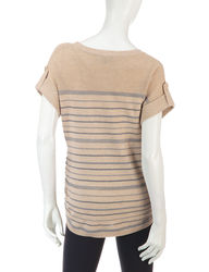 All At Once Women's Striped Ruched Side Sweater - Grey - Size: S