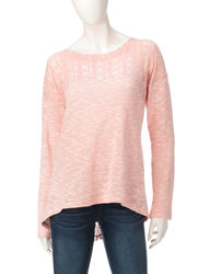 Hannah Women's Solid Color Lace Split Back Knit Top - Rose - Size: XL