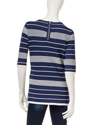Hannah Women's Mix Striped Sweater - Blue - Size: Large