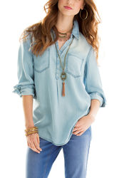 Earl Jean Women's Petite Pullover Chambray Top - Blue - Size: XL