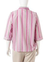 Rebecca Malone Women's Plus-size Neutral Striped Woven Top - Pink - Sz: 1X