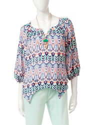 My Michelle Juniors Girls Abstract Print Necklace Top - Blue Multi - Sz: L