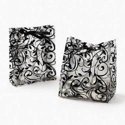 Fun Express Frosted Black & White Wedding Favor Bags (4 Dozen) - Bulk