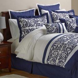 Alcove Ambrosia 30 Piece Comforter Set - Navy - Size: California King