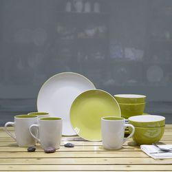 Mcleland Design Sofia Banded 16 Piece Dinnerware Set - Green