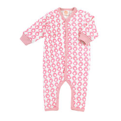 Under The Nile Kids Long Sleeve Footless Romper - Pink/White - Size: 6-9M